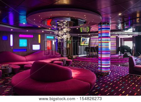 Cruise liner Splendida - Sep 9, 2016: Bar modern interior cruise liner Splendida