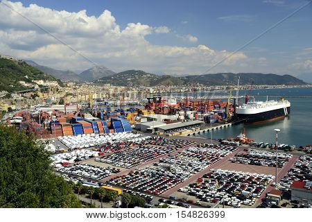 Salerno, Italy 2016 - The harbour and the bay from the road to Amalfi