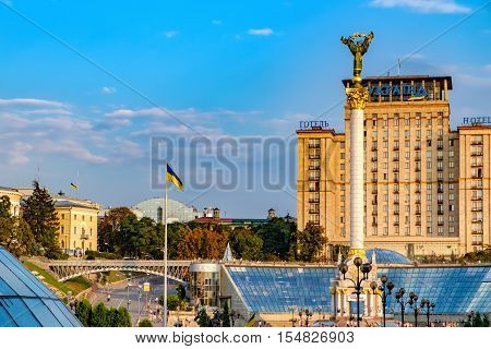 Kiev, Ukraine - September 11, 2016: Statue of Berehynia on the top of Independence Monument in Maidan Nezalezhnosti Independence Square Kiev Ukraine