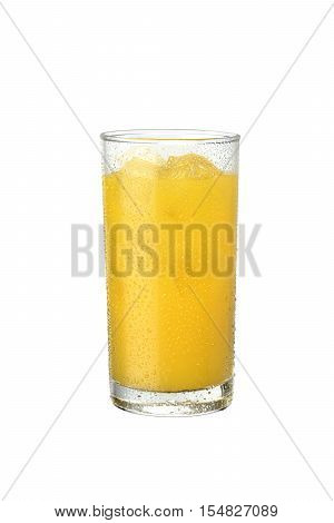 photo in the orange glass studio with ice cubes on white background