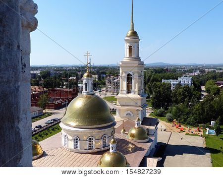 Russia orthodox architecture. Spaso-Preobrazhensky cathedral church and leaning belfry in Nevyansk, Sverdlovsk region