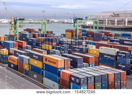 Casablanca, Morocco - Nov 4, 2016: Container terminal in Casablanca sea commercial port, Morocco
