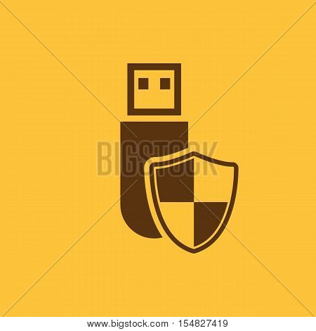 The data protection icon. Transfer and connection, data protection symbol. UI. Web. Logo. Sign. Flat design. App. Stock vector
