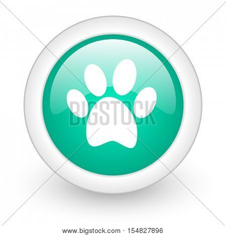 foot round glossy web icon on white background