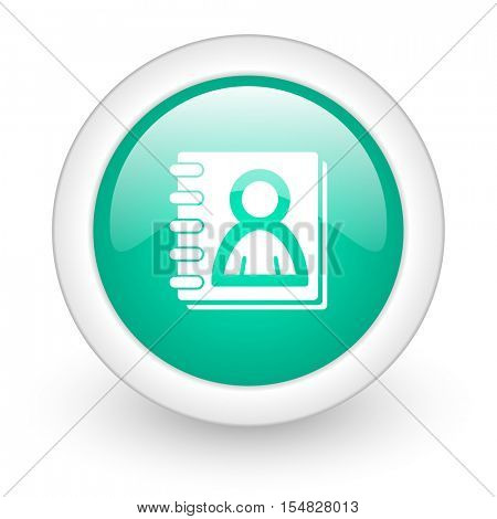address book round glossy web icon on white background