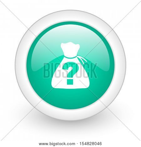 riddle round glossy web icon on white background