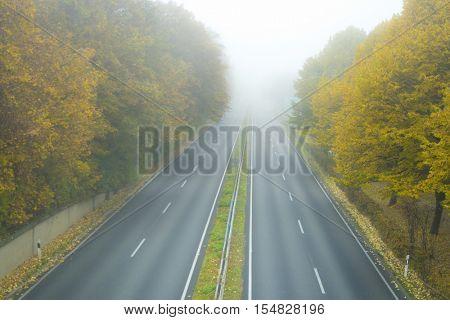 Speedway in Baden-Baden on a foggy spring weather