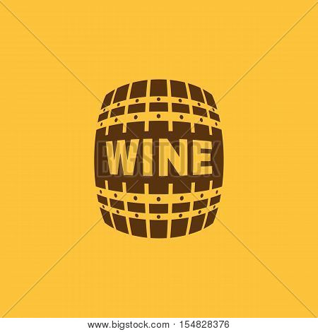 The wine icon. Cask and keg, alcohol, wine symbol. UI. Web. Logo. Sign. Flat design. App. Stock vector