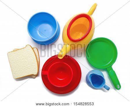 Set of kids dishes isolated on white background