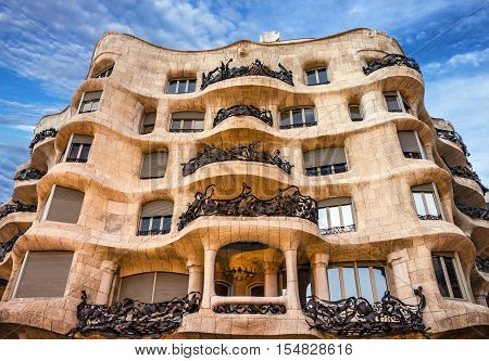Barcelona, Spain - Aug 9, 2016: Casa Mila (La Pedrera)  by famous Catalan architect Gaudi.