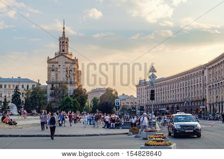 Kiev, Ukraine - September 11, 2016: Khreshatyk Street at weekend in Kiev. People walking through the street passing cafes restaurants and shops. At the weekend the street is blocked for cars.