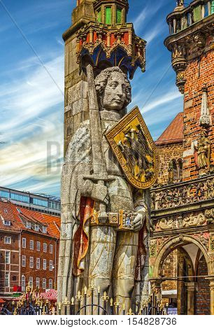 Bremen Market square Germany. Knight Roland statue on Marktplatz.