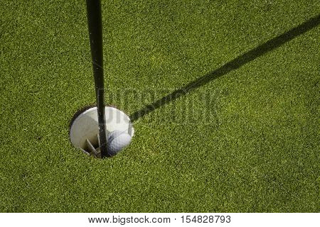 Golf ball lies inside a cup on a golf course. putting green with flag.