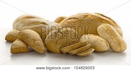 Still life of fresh baked goods Isolated on white background