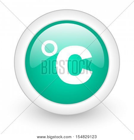 celsius round glossy web icon on white background
