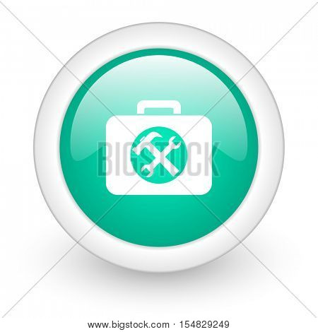 toolkit round glossy web icon on white background