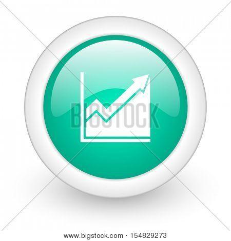 histogram round glossy web icon on white background