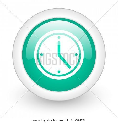 time round glossy web icon on white background