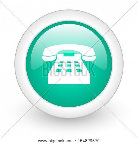 phone round glossy web icon on white background