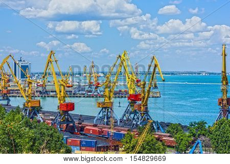 Odessa, Ukraine - Aug 3, 2016: Container terminal in Quarantine harbor of Odessa sea commercial port, Ukraine.
