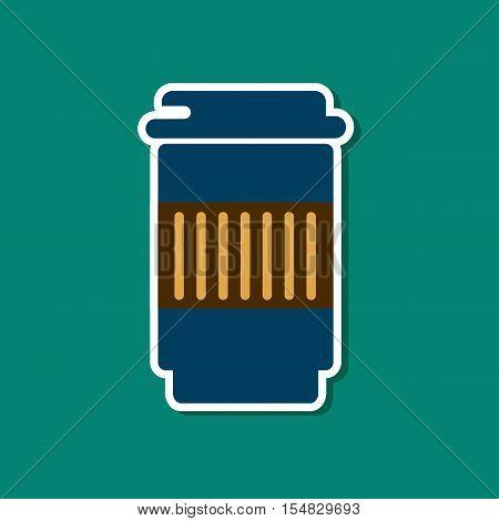 paper sticker on stylish background of coffee to go caffeine