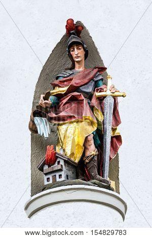 Bavaria Germany - Nov 7, 2016: Sculptural figure of medieval knight in village Oberammergau house