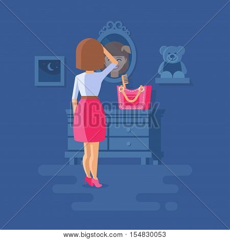 Vector illustration of girl straightens her hair. She stands with her back to the viewer. The reflection face in the mirror. Clipart of night room.
