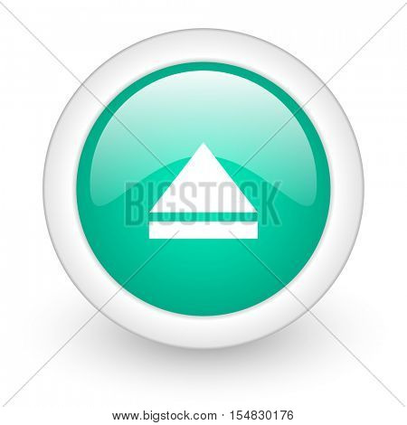 eject round glossy web icon on white background