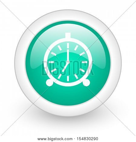 alarm round glossy web icon on white background