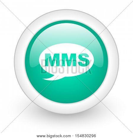 mms round glossy web icon on white background