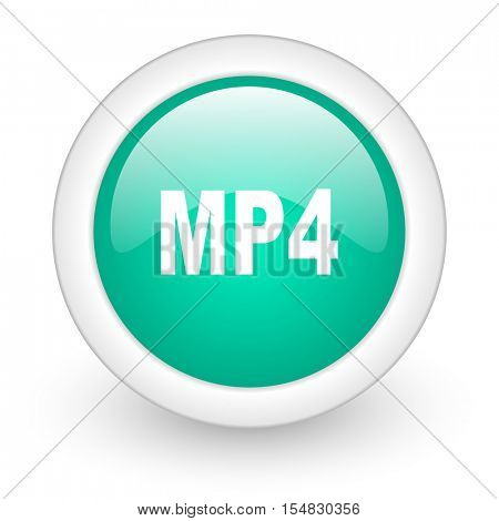 mp4 round glossy web icon on white background