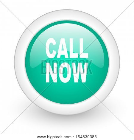 call now round glossy web icon on white background