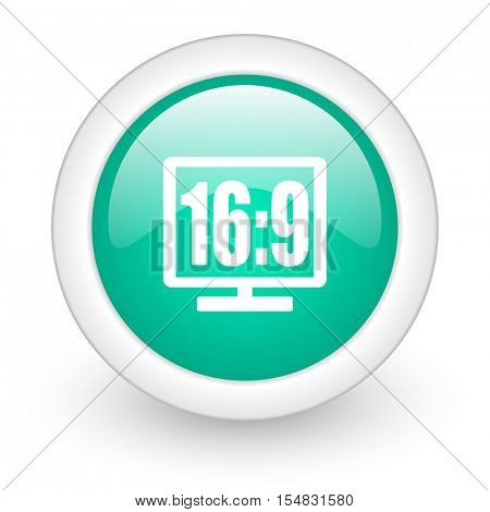 16 9 display round glossy web icon on white background