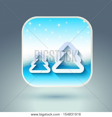 Abstract Christmas Background. Snowflakes, night sky, christmas tree icon. Vector illustration