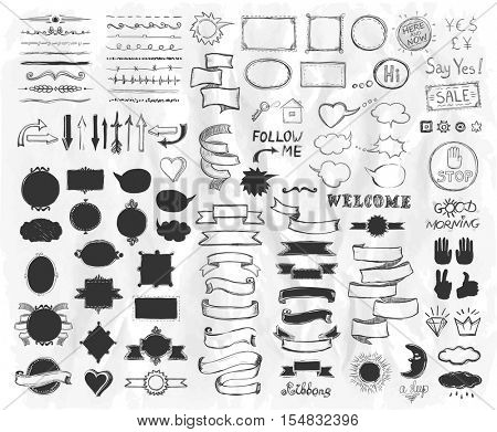 Hand drawn graphic sketch elements on a paper, vector  illustration, doodle graphic line elements, vintage style ribbons, frames, dividers, brushes, silhouettes and phrases