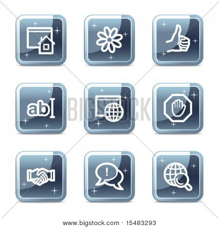 Internet communication web icons, square blue mineral buttons series