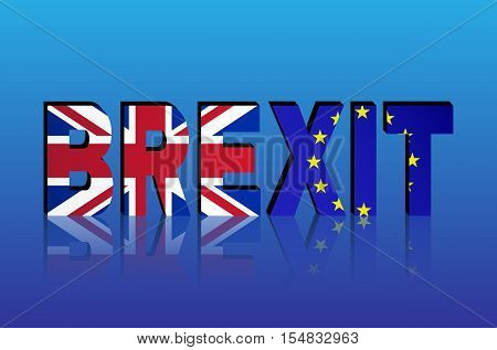 BREXIT - The political process of leaving the United Kingdom from the European Union. Great Britain and European Union flags in BREXIT text with shadow.