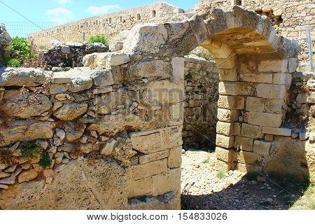 The ruins of the Fortezza fortress in Rethymno (Crete Greece)