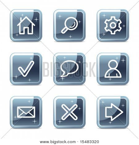 Basic web icons, square blue mineral buttons series
