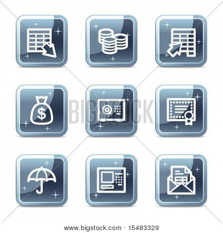 Banking web icons, square blue mineral buttons series