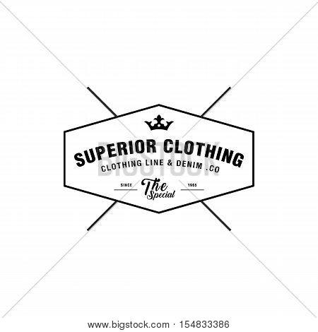 Vintage denim jeans frame logo. Classical Clothing line label