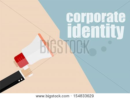 corporate identify. Flat design business concept Digital marketing business man holding megaphone for website and promotion banners.