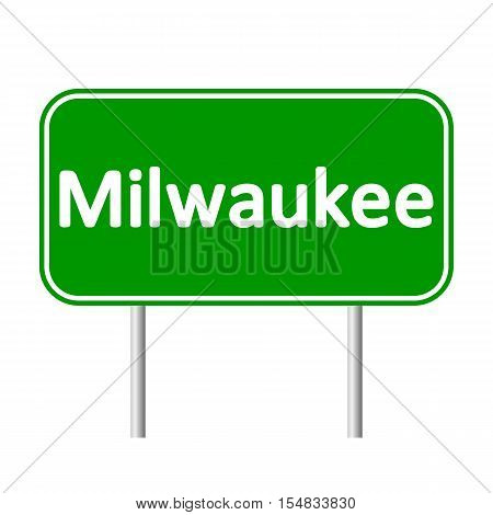 Milwaukee green road sign isolated on white background.