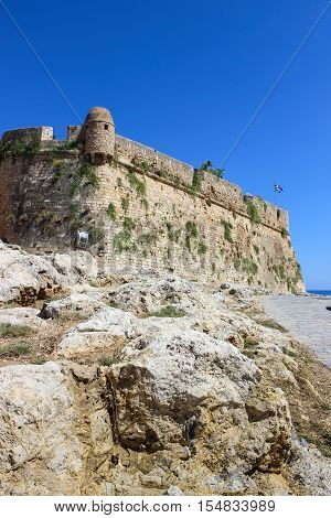 The walls and towers of the ancient fortress Fortezza in Greece