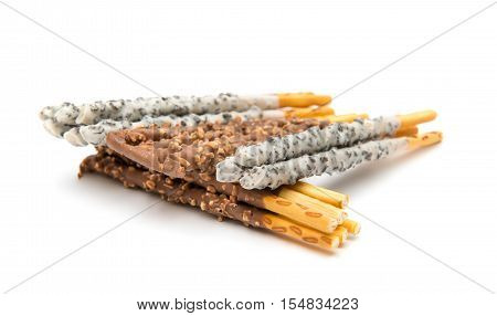 chocolate dipped biscuit sticks on white background