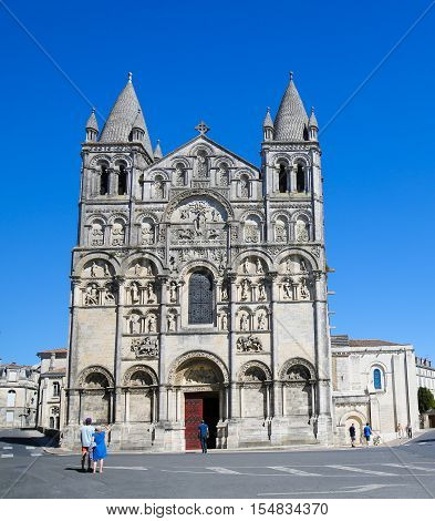 Romanesque Cathedral Of Angouleme, France.
