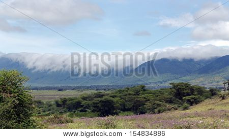 Soft clouds crossing through the edge of crater and go down in beautiful landscape of Ngorongoro Crater Conservation Area,Tanzania. East Africa