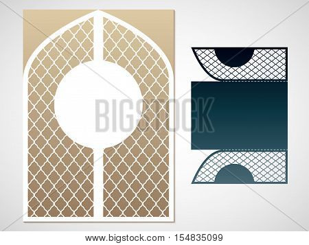 Vector laced gate. Laser Cutting template for greeting cards envelopes invitations carved decorative interior elements.