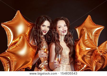 Cheers Glasses, Ladies Have New Year Party Celebration Over Party Golden Stars Balloons Isolated On