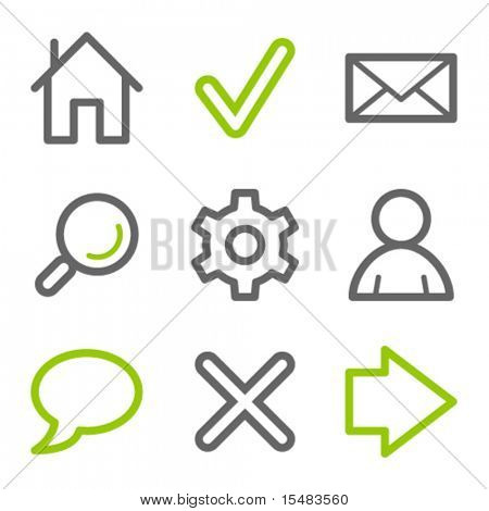Basic web icons, green and gray contour series